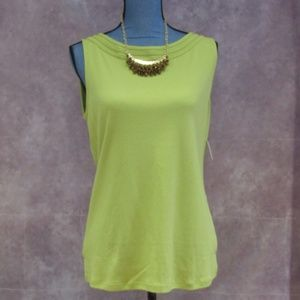 NEW Talbots Chartreuse Green Sleevless Top L
